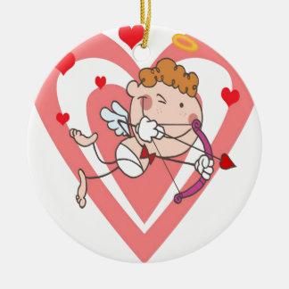 Niedlicher und liebevoller Amor-Engel Keramik Ornament