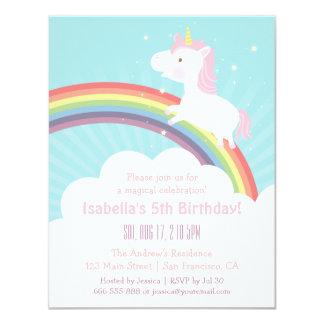 Niedlicher Unicorn herauf das 10,8 X 14 Cm Einladungskarte