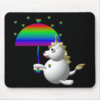 Niedlicher Unicorn mit einem Regenschirm Mousepad