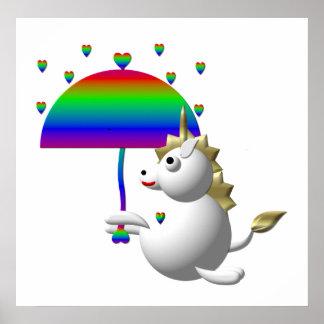 Niedlicher Unicorn mit einem Regenschirm Poster