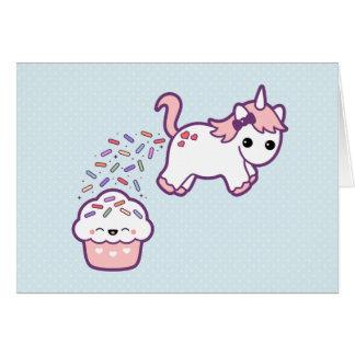 Niedlicher Unicorn mit kleinem Kuchen Grußkarten
