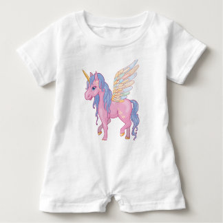 Niedlicher Unicorn mit Regenbogen wings Baby Strampler