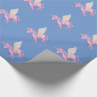 Niedlicher Unicorn mit Regenbogen wings Geschenkpapierrolle