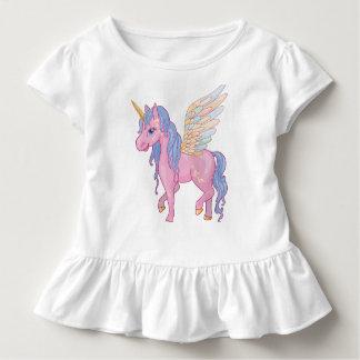 Niedlicher Unicorn mit Regenbogen wings Kleinkind T-shirt