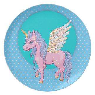 Niedlicher Unicorn mit Regenbogen wings Melaminteller