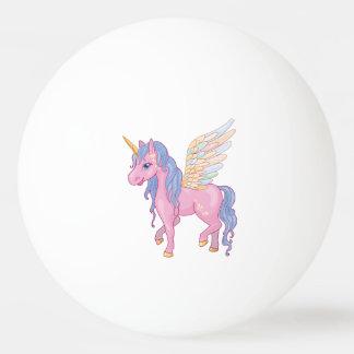 Niedlicher Unicorn mit Regenbogen wings Tischtennis Ball