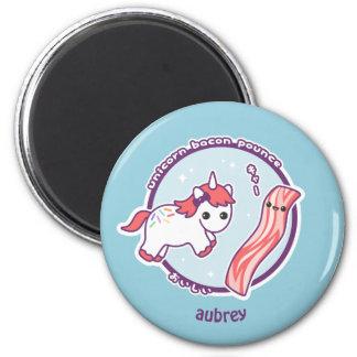 Niedlicher Unicorn mit Speck Runder Magnet 5,7 Cm