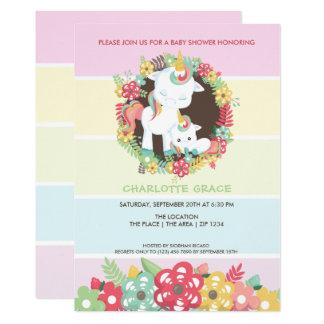 Niedlicher Unicorn-personalisierte Baby-Dusche Karte