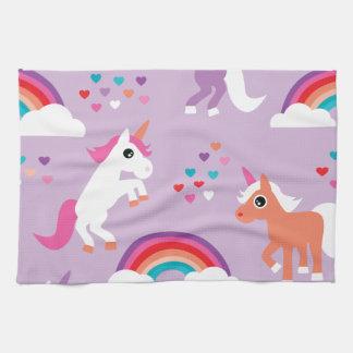 Niedlicher Unicorn-Regenbogen lila Küchentuch