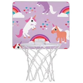 Niedlicher Unicorn-Regenbogen lila Mini Basketball Netz