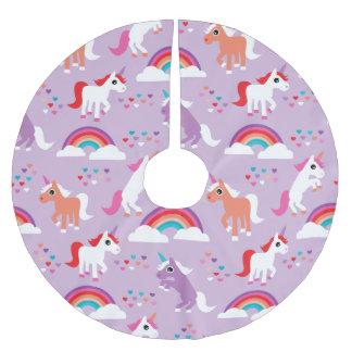 Niedlicher Unicorn-Regenbogen lila Polyester Weihnachtsbaumdecke