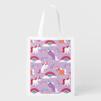 Niedlicher Unicorn-Regenbogen lila Wiederverwendbare Einkaufstasche