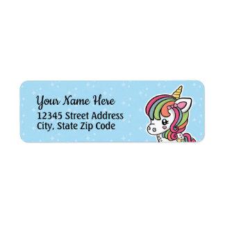 Niedlicher Unicorn-Rücksendeadressen-Aufkleber