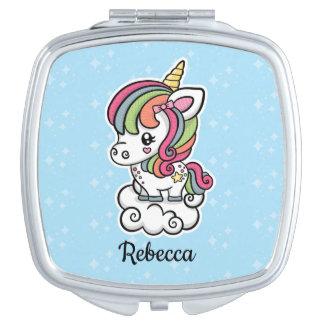 Niedlicher Unicornvertragsspiegel Taschenspiegel