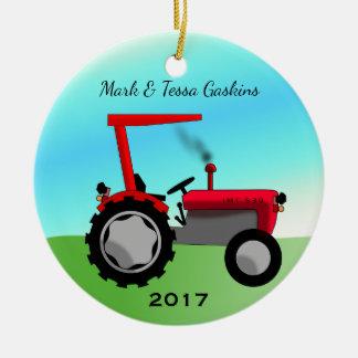 Niedlicher Vintager roter Bauernhof-Traktor Keramik Ornament