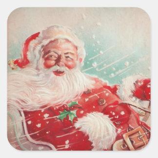 Niedlicher Vintager Weihnachtsmann Quadratischer Aufkleber