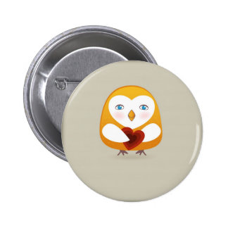 Niedlicher Vogel mit Herzen Runder Button 5,7 Cm
