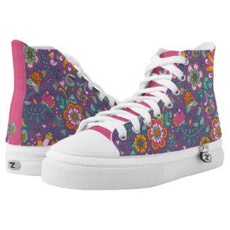 Niedlicher Vogel und lila Muster-mit Blumenschuhe Hoch-geschnittene Sneaker