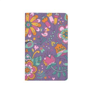 Niedlicher Vogel und lila Muster-mit Taschennotizbuch