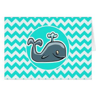 Niedlicher Wal auf Türkis, Aqua-Farbe Zickzack Karte