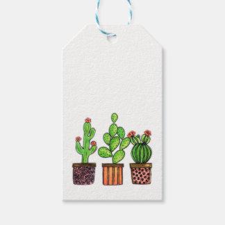 Niedlicher Watercolor-Kaktus in den Töpfen Geschenkanhänger