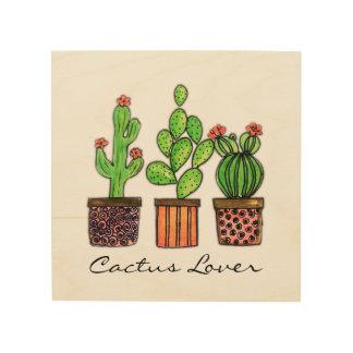 Niedlicher Watercolor-Kaktus in den Töpfen Holzleinwand