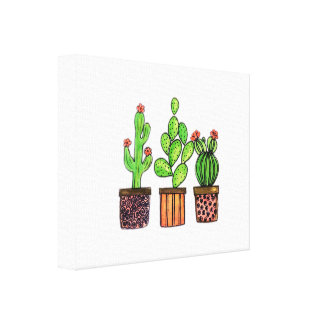 Niedlicher Watercolor-Kaktus in den Töpfen Leinwanddruck