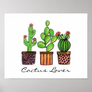 Niedlicher Watercolor-Kaktus in den Töpfen Poster