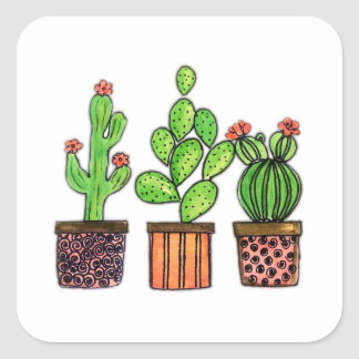Niedlicher Watercolor-Kaktus in den Töpfen Quadratischer Aufkleber