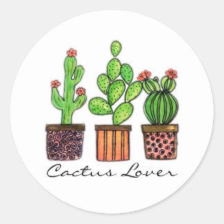 Niedlicher Watercolor-Kaktus in den Töpfen Runder Aufkleber