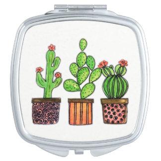 Niedlicher Watercolor-Kaktus in den Töpfen Taschenspiegel