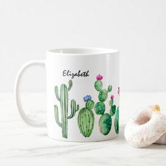 Niedlicher Watercolor-Kaktus personalisiert Kaffeetasse