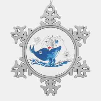 Niedlicher Weihnachtsbuckel-Wal-wunderlicher Baum Schneeflocken Zinn-Ornament