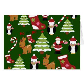 Niedlicher Weihnachtscollagen-Entwurf mit Sankt Karte