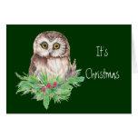 Niedlicher Weihnachtseulen-Spaß, Watercolor-Vogel Grußkarten