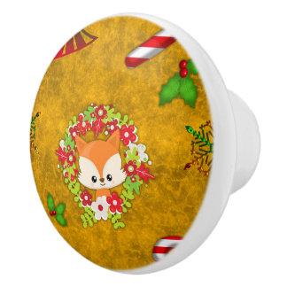 Niedlicher WeihnachtsFox Keramikknauf