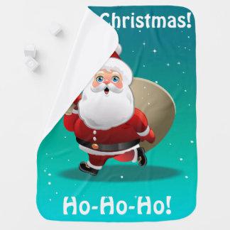 Niedlicher Weihnachtsmann mit einem Sack voll von Kinderwagendecke