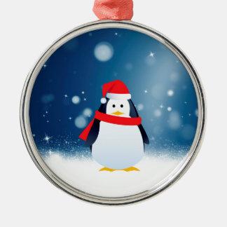 Niedlicher Weihnachtsmannmütze-Weihnachtsschnee Silbernes Ornament
