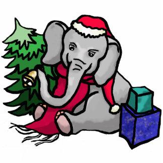 Niedlicher Weihnachtssankt-Cartoon-Elefant Fotoskulptur Magnet