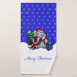 Niedlicher Weihnachtssankt-Elefant im Schnee Badhandtuch Set