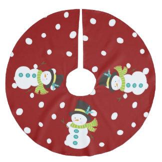 Niedlicher Weihnachtssnowman-schneiendes rotes Polyester Weihnachtsbaumdecke