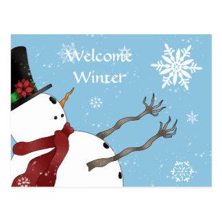 Niedlicher Weihnachtssnowman und -schneeflocken Postkarte