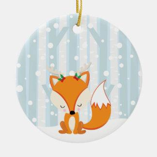 Niedlicher WeihnachtswaldFox Keramik Ornament
