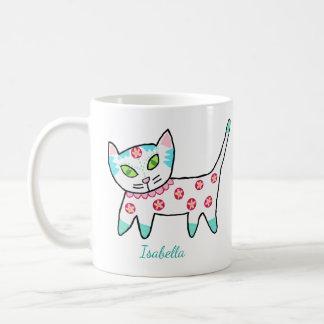 Niedlicher weißer Kitty und Name Kaffeetasse