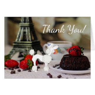 Niedlicher weißer Pudel-Eiffel-Turm-Paris-Hund Karte