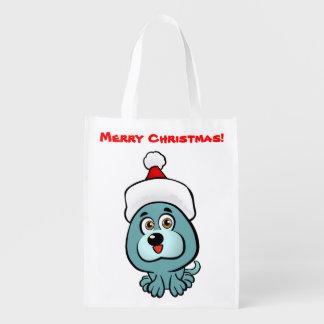 Niedlicher Welpe mit Weihnachtshut-Cartoon Wiederverwendbare Einkaufstasche