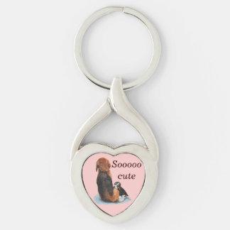 niedlicher Welpen-Beagle mit Mamahunderealistkunst Schlüsselanhänger