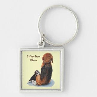 Niedlicher Welpen-Beagle mit Mamarealisthundekunst Silberfarbener Quadratischer Schlüsselanhänger