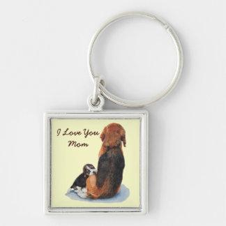Niedlicher Welpen-Beagle mit Mammarealisthundekuns Schlüsselanhänger