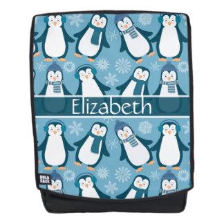 Niedlicher Winterpenguins-Entwurf addieren Namen Rucksack